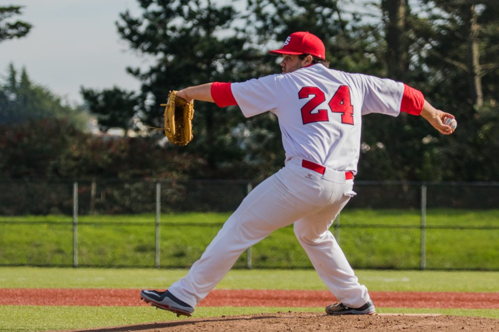 Sophomore pitcher Steve Sagasty takes the mound in a game against Contra Costa College in this stock photo from February 4, 2016 (Photo by Peter Wong/Special to The Guardsman)