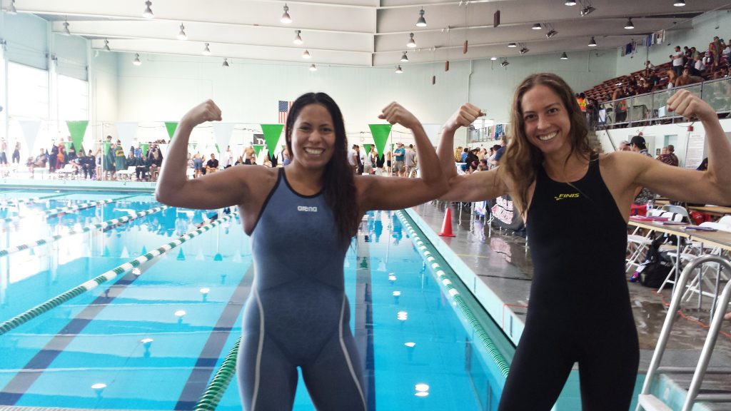 City College swimmers Daniela Fiestas-Paredes and Raquel Pea pose for a photo in front of the pool at the state swimming championships in San Diego on May 4, 2015 (Photo courtesy of Daniela Fiestas-Paredes)