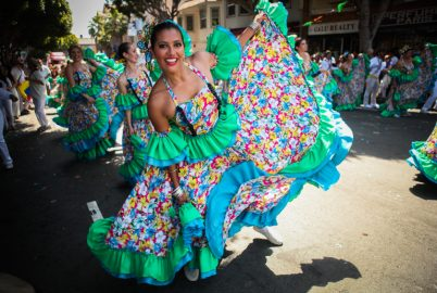 Carnaval performers dance in the 38th Annual Carnaval San Francisco grand parade on 24th Street in San Francisco during Memorial Day weekend, Sunday, May 29, 2016. (Photo by Ekevara Kitpowsong)