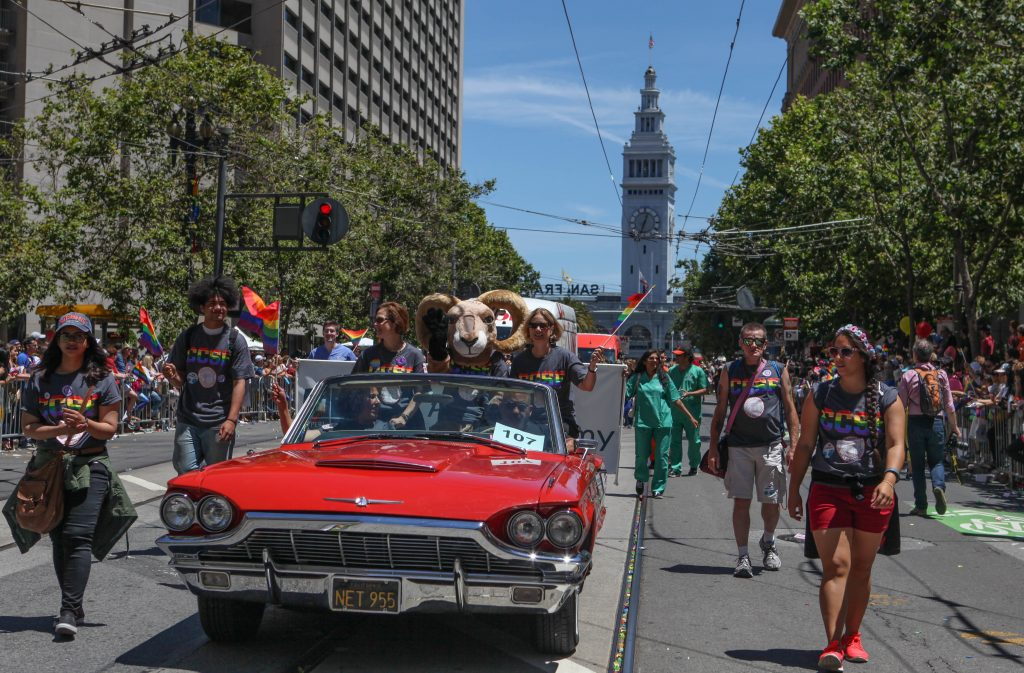 City College students and faculty and ride along the Market Street parade route during the San Francisco Pride Parade on June 26, 2016. (Photo by Cassie Ordonio/The Guardsman)