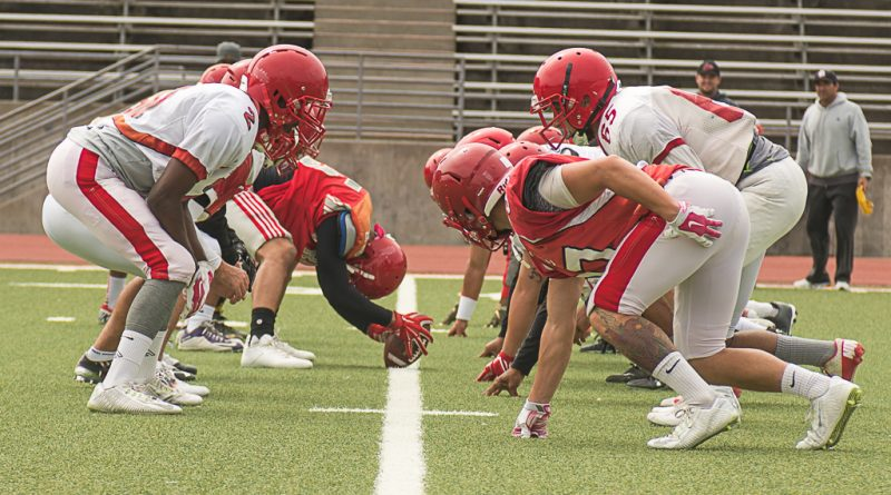 City College's football team The Rams practice at Rams stadium on August 15. (Photo by Izar Decleto)