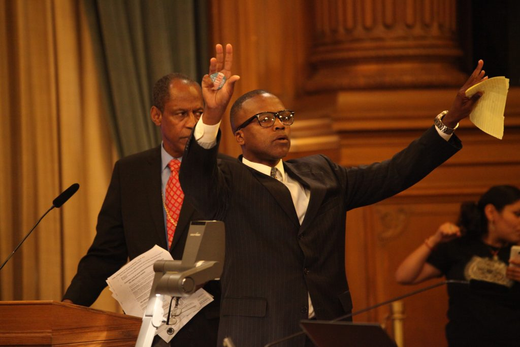 Daniel Muhammad from the Justice 4 Mario Woods Coalition acknowledges the crowd during the Hero Award ceremony at City Hall on July 28, 2016. (Photo by Cassie Ordonio/The Guardsman)