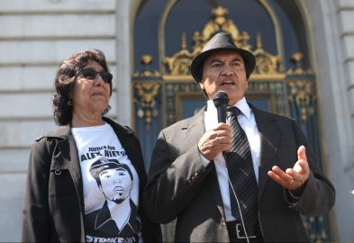 Refugio and Elvira Nieto stan outside San Francisco's City Hall on September 13, 2016 in hopes of a permanent memorial for their son, Alex. (Photo by Cassie Ordonio/ The Guardsman)