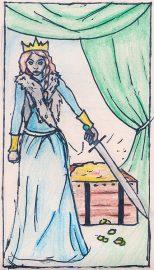 Queen of Swords, illustrated by Auryana Rodriguez