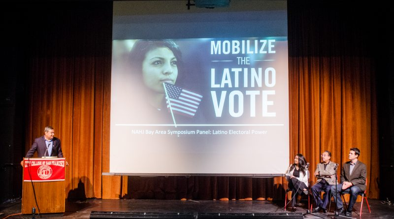 From left to right: Joe Vazquez, Jacqueline Martinez Garcel, Jim Salinas talking about  about Latino Electoral Power in the Diego Rivera Theater at CCSF on Sept. 24, 2016. Photo by Gabriela Reni/ The Guardsman.