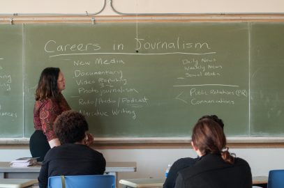 Director of Admissions and Career Services at UC Berkeley's Graduate School of Journalism, Pamela Gleason Magalhaes, led one of six workshops at the journalism symposium presented by the NAHJ at City College's Ocean Campus on Sept. 24, 2016 (Photo by Franchon Smith/The Guardsman)