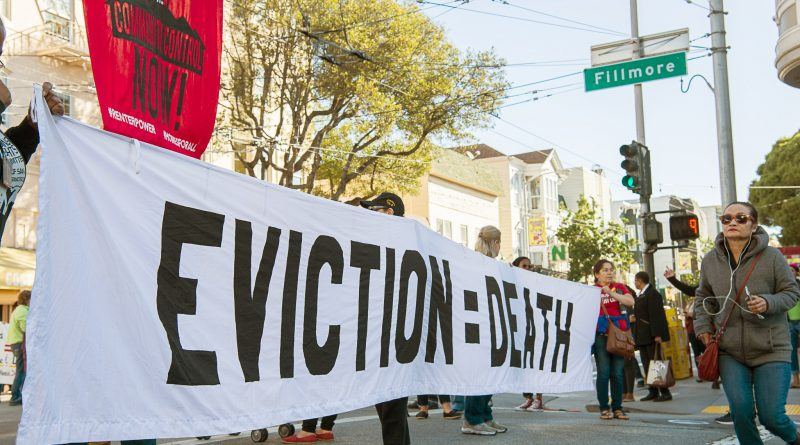 Protestors blocks traffic on Fillmore St. and Haight St. to fight for the eviction of Iris Canada. Iris Canada is a 100 year-old woman of color who is facing eviction from her home of more than 50 years. San Francisco, California, September 22, 2016. (Photo by: Izar Decleto/The Guardsman)
