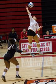 Rams freshman Jennifer Quarters-Styles returns a hit during the second set against Cabrillo College at the Brad Duggan gymnasium on September 30, 2016. Photo by Franchon Smith/The Guardsman