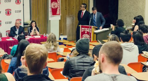 Rafael Mandelman and Amy Bacharach address public comment from faculty and students on Oct. 26