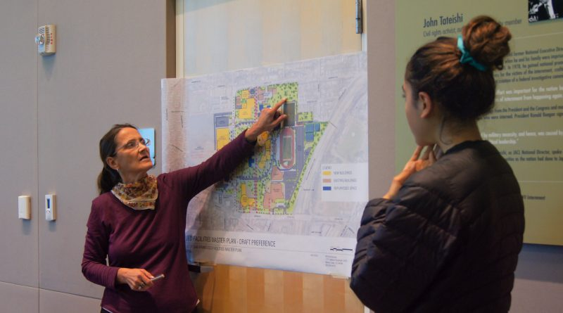 Amy Jane Frater, tBP architect, explains the Facilities Master Plan to a student attending a workshop Nov 2, 2016.