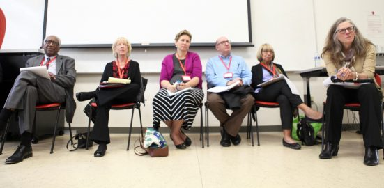 Half of the Accrediting Commission for Community and Junior Collge's visiting team listens to the statements of faculty and administration at Ocean Campus's Wellness Center on Oct. 11, 2016. Only one student attended the open forum. (Photo by Cassie Ordonio/ The Guardsman)