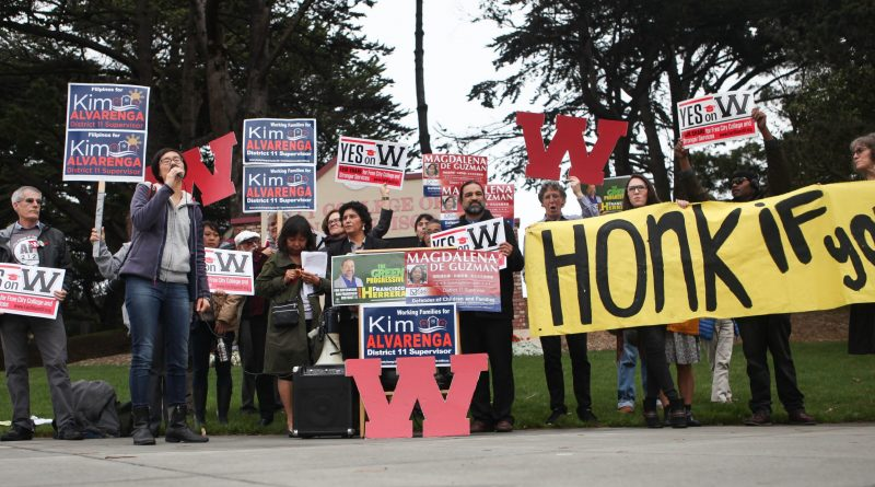 Faculty, administration, students and San Francisco Board of Supervisor candidates gather at the corner of Ocean and Phelan Ave on Oct. 27, 2016 to voice their support for Proposition W, which will eliminate tution for City College. (Photo by Cassie Ordonio/ The Guardsman)