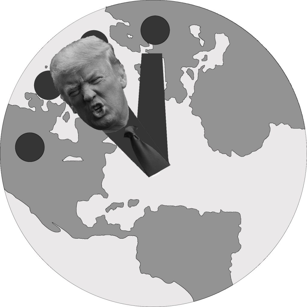 The Doomsday Clock was created by scientists to demonstrate how close scientists believe Earth is to its destruction, with midnight symbolizing annihilation. Original photo of Donald Trump by Nathan Congleton. Changes were made. https://creativecommons.org/licenses/by-nc-sa/2.0/legalcode (David Horowitz / The Guardsman)