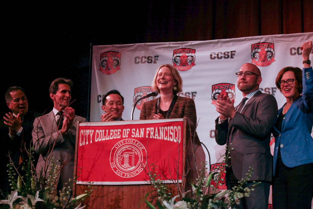 City College's Diego Rivera Theater erupts to a standing ovation on Jan 13, 2017 after Chancellor Lamb announced the college's reaffirmed accreditation. ( Photo by Cassie Ordonio/The Guardsman)