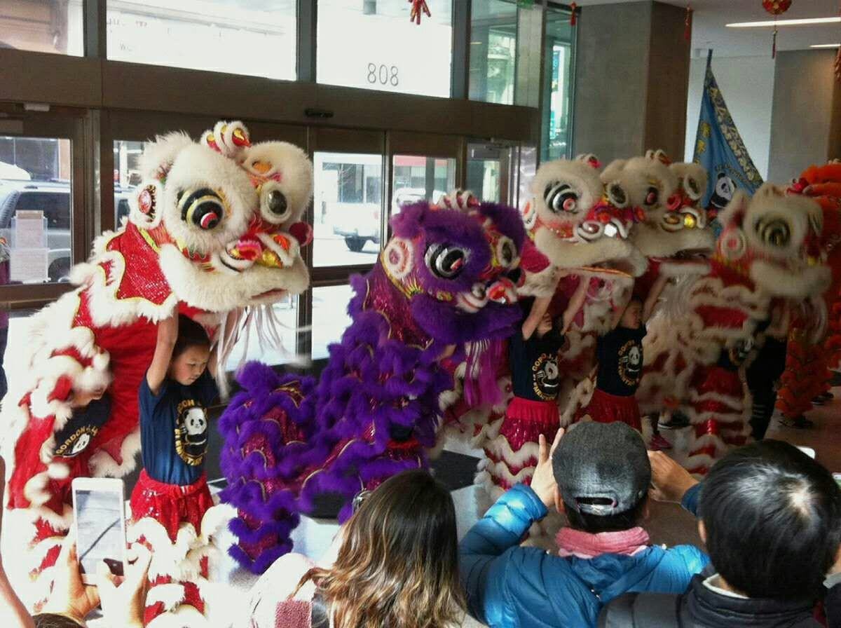 A group of children performing the traditional lion dance at City College's Chinese New Year celebration. (Photo by CHNB Student Council)