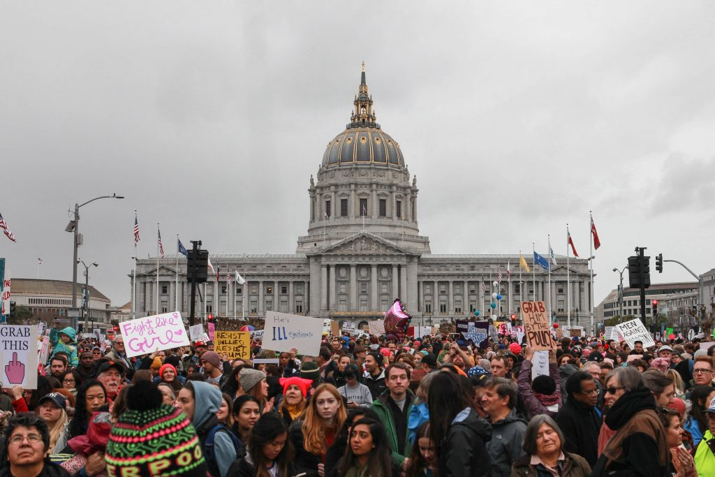 Over 100,000 bundled protestors rally in front of City Hall at Civic Center for the Women's March in San Francisco on Jan. 21, 2017. (Photo by Cassie Ordonio/The Guardsman
