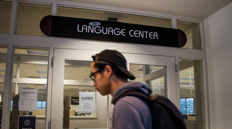 Student passing by Language center. (Photo by Gabriela Reni/ The Guardsman)