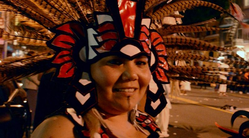 An Aztec dancer just before the celebration of Aztec New Year, dressed head to toe in traditional Aztec wear at City College's Mission Campus. Mar. 11, 2017 (photo by Isela Vazquez, The Guardsman)