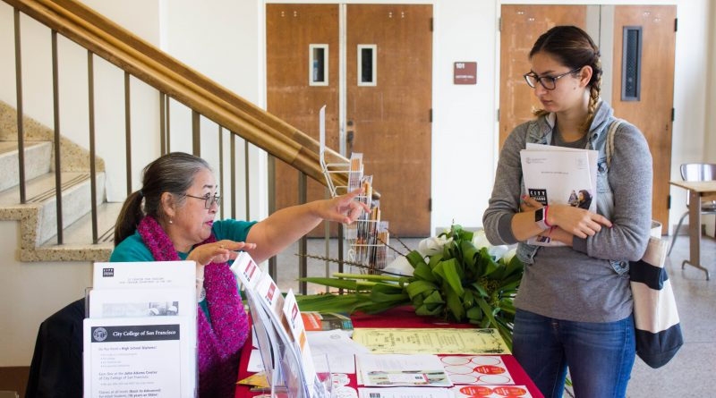Josephine Loo, CCSF Assitance Center Faculty, helps guide a student in Conlan during the open house.