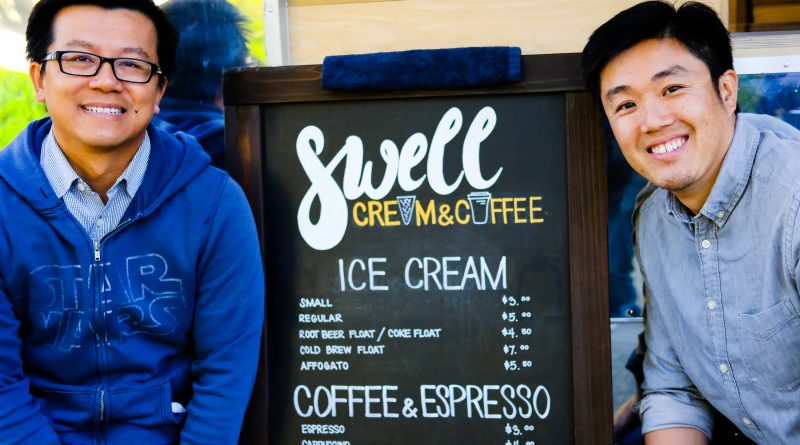 Owners and business partners Ta Ratana (left) and Benson Chiu (right) with menu in front of Swell Cream & Coffee. Picture by Otto Pippenger, April 17, 2017.