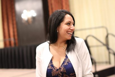 Our new State President, Gardenia Zuniga-Haro, after presenting the awards for JACC 2017. (Photo by James Fanucchi)