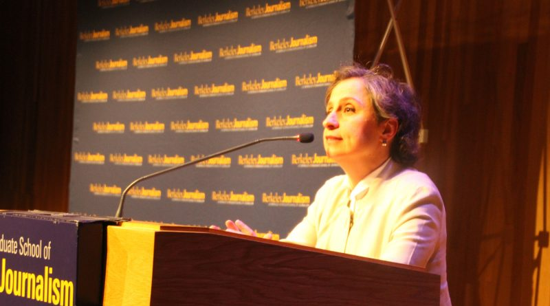 Mexican Journalist Carmen Aristegui spooke to hundreds of people on her perspective to stand agaisnt Trump's actions on April 21, 2017.
