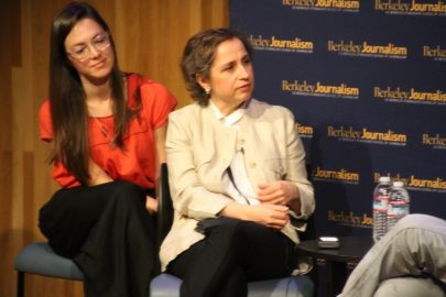 Arestegui anwsering a Q&A after her speech at UC Berkely on April 21, 2017.