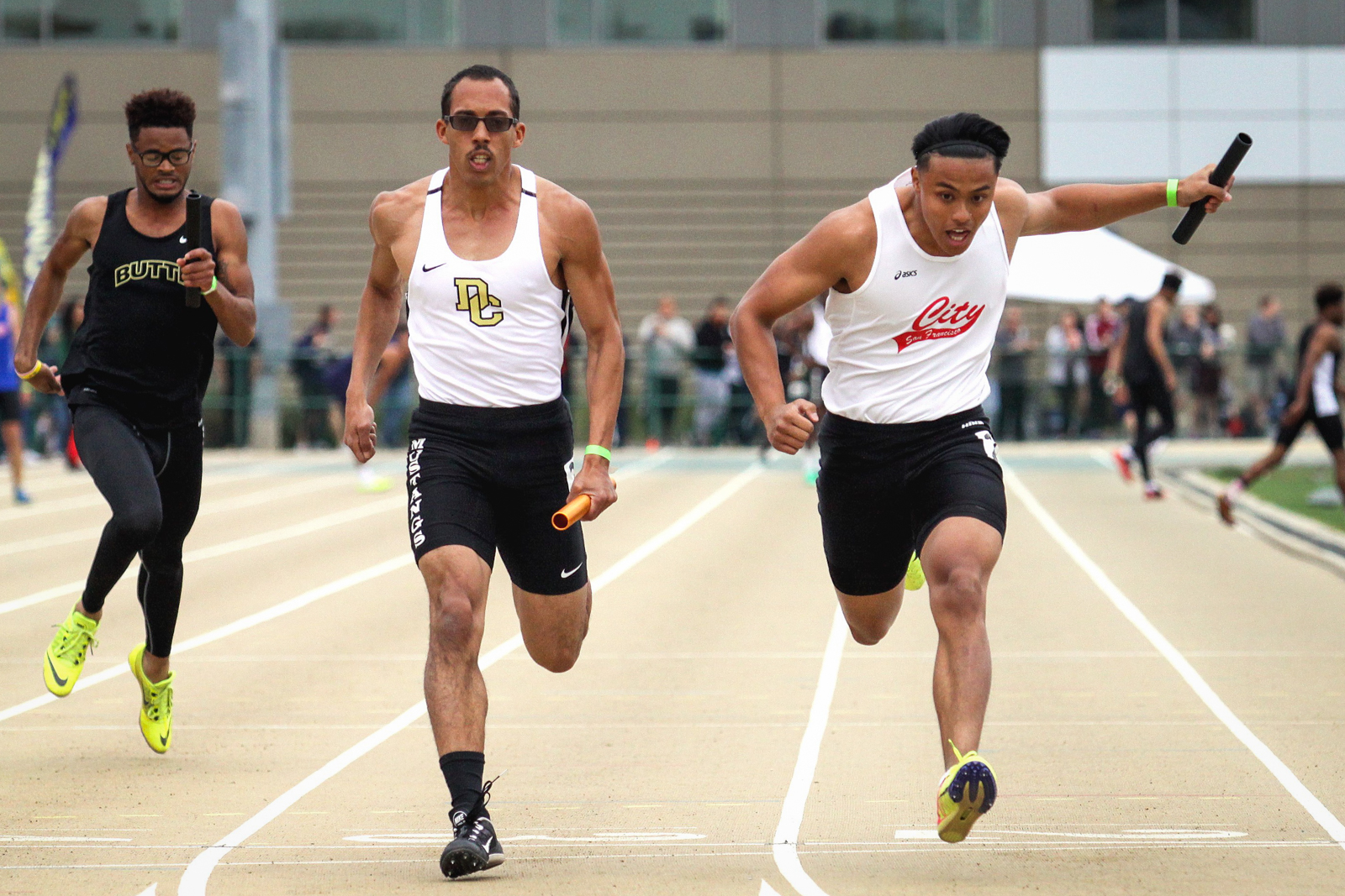 City College won both men's 4x100m and 4x400m relays at the Johnny Mathis Invitational held at SF State on February 24-25. (Photo by Craig Mandall)
