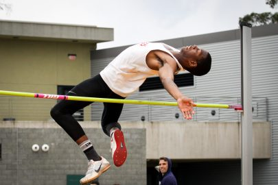 Freshman Rodney Morgan attempts a high jump at the SF State Johnnu Mathis invitational on February 24, 2017. Morgan will later tie the state record for the High Jump at this invitational.