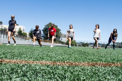 Women's soccer team does lunges during practice at Ocean Campus on May 3, 2017.