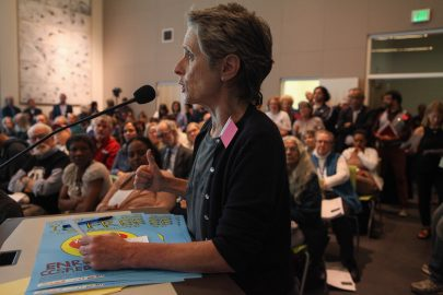 AFT member Kathe Burick emotionally voices her opposition of a controversial chancellor at City College of San Francsico's Board of Trustees meeting on June 22, 2017.