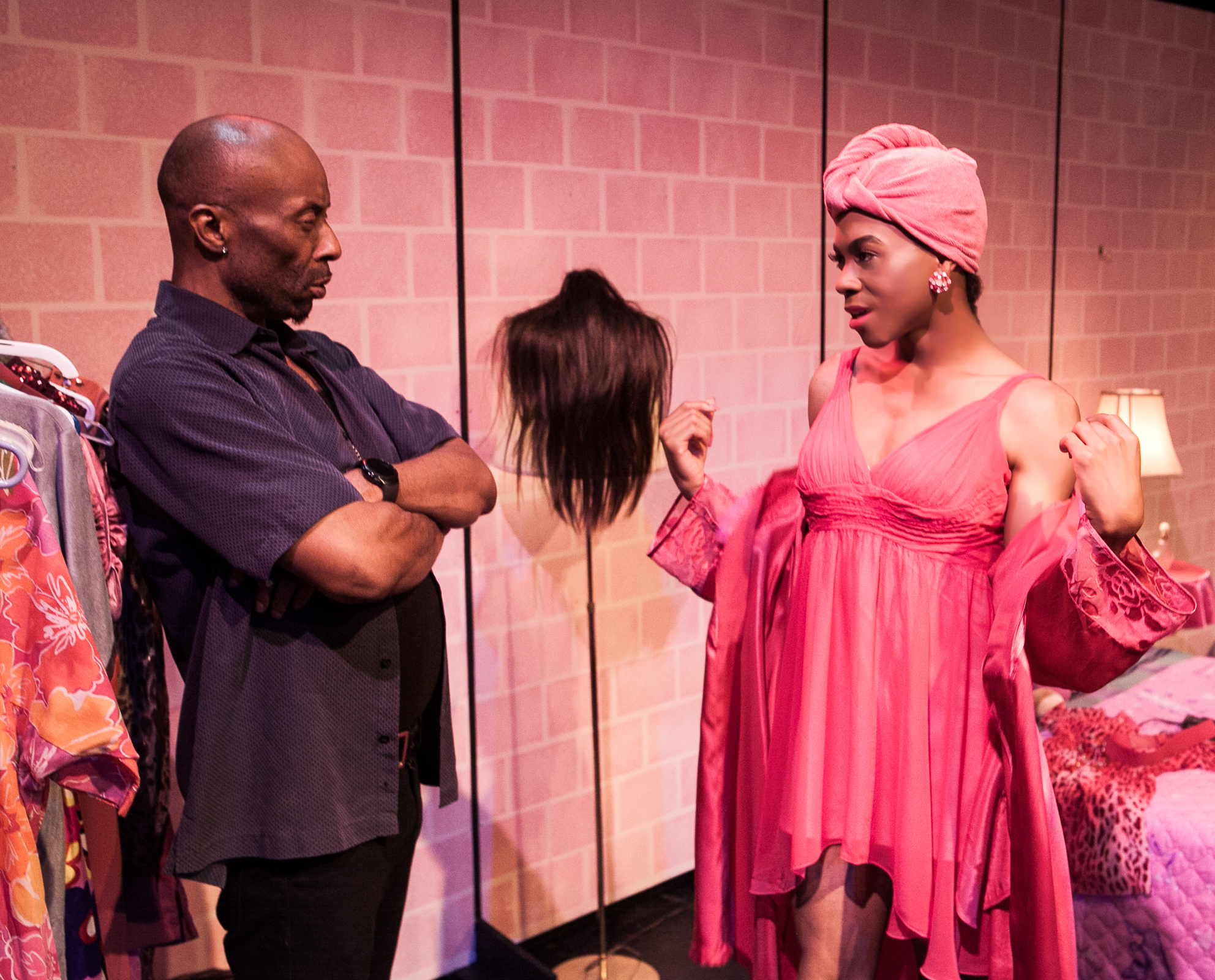 "Pictured left to right: R. Shawntez Jackson as Ace and Charles Peoples III as Pink in ""THE LEGEND OF PINK"" by Kheven LaGrone. Directed by AeJay Mitchell. A Theatre Rhinoceros Production at The Gateway Theatre (formerly The Eureka Theatre.) Photo by David Wilson."