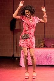 """Charles Peoples III as Pink in """"THE LEGEND OF PINK"""" by Kheven LaGrone. Directed by AeJay Mitchell. A Theatre Rhinoceros Production at The Gateway Theatre (formerly The Eureka Theatre.) Photo by David Wilson."""