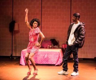 """Pictured left to right: Charles Peoples III as Pink and Maurice André San-Chez as Bradford/DeShawn in """"THE LEGEND OF PINK"""" by Kheven LaGrone. Directed by AeJay Mitchell. A Theatre Rhinoceros Production at The Gateway Theatre (formerly The Eureka Theatre.) Photo by David Wilson."""