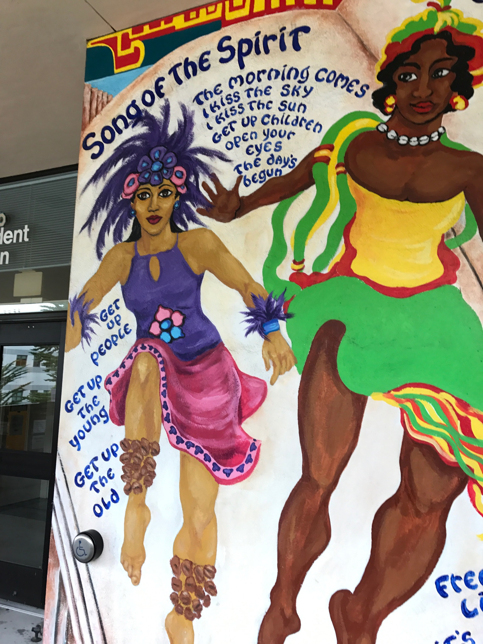 Mural done on the Student Union exterior building at City College, a cultural mural depiction of great possibilities and accomplishment for VIDA students. Bright futures, the day has begun! Thursday, September 14, 2017. San Francisco, CA. (Photo by Diane Carter.)