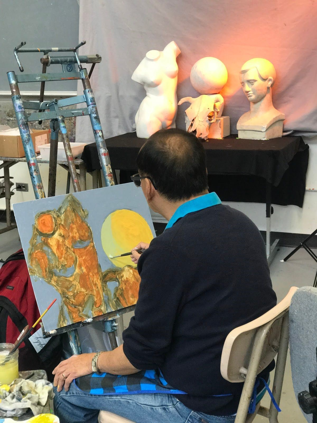 A beginning art student finishes a painting of the assigned three figures. Photo taken on Sep. ?, 2017 by Jasmine