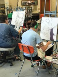 Students begin to paint their initial sketches.  Photo taken on Sep. ?, 2017 by Jasmine