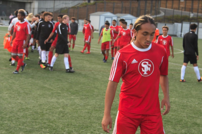 Romario Gamez (#10) exits the field In victory in a 2-1 win against Lake Tahoe City College. Thursday, September 14, 2017. San Francisco, CA. Photo by Donald Ades.