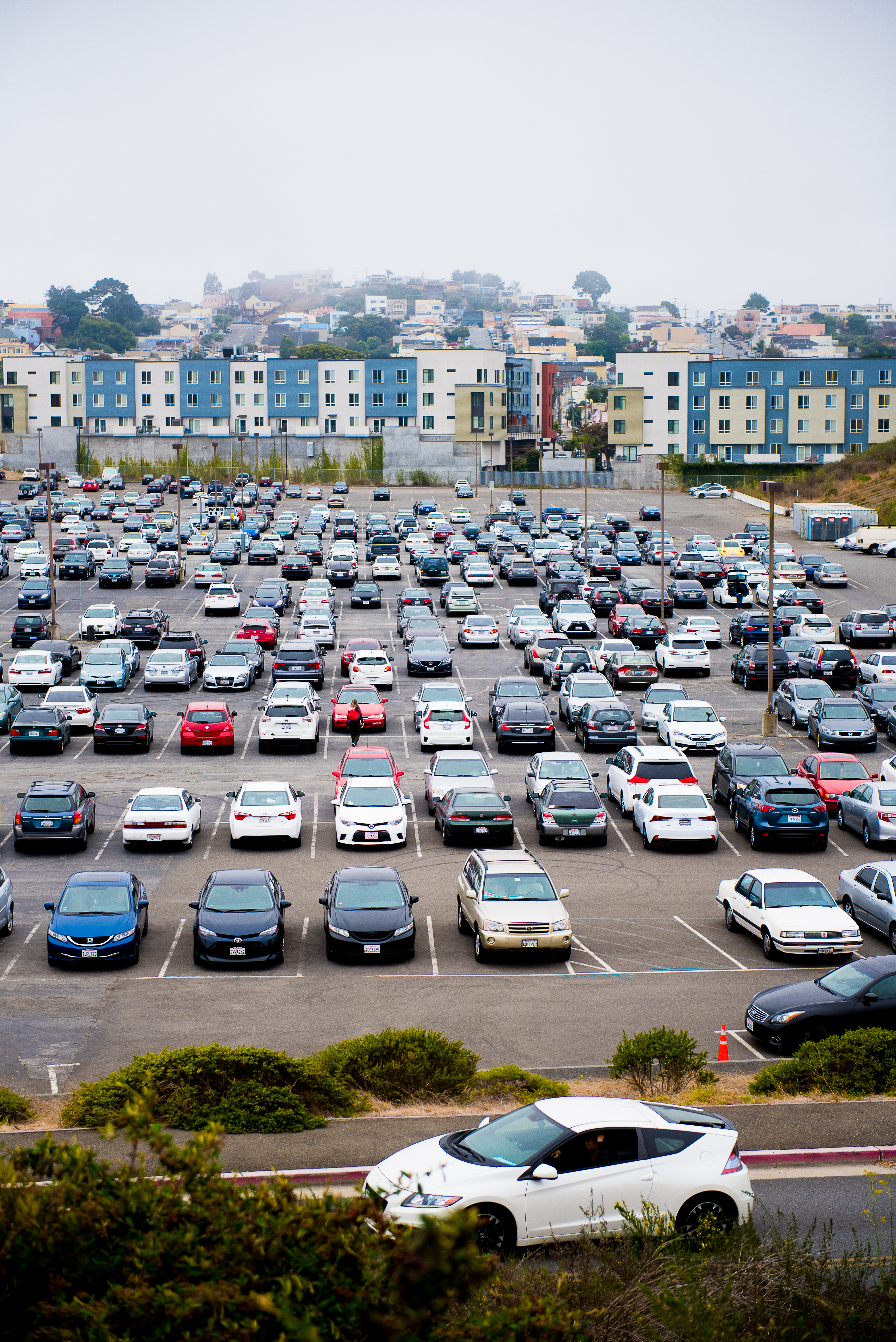 The Balboa Reservoir parking lot nearly full during school hours. Photo taken on Aug. 28, 2017 by Otto Pippenger.