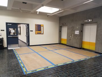The second floor of Batmale Hall continues to see repairs after a flooding on the third and fourth floors caused enough water damage to relocate affected classes. Photo taken by Bethaney Lee on Oct. 10, 2017.
