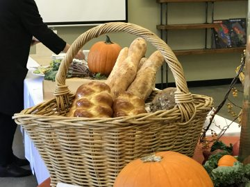 Bread made of different grains that only grow during the fall are arranged in a basket for guests to taste and enjoy on Wednesday, Oct. 18, 2017. Photo by Diane Carter.