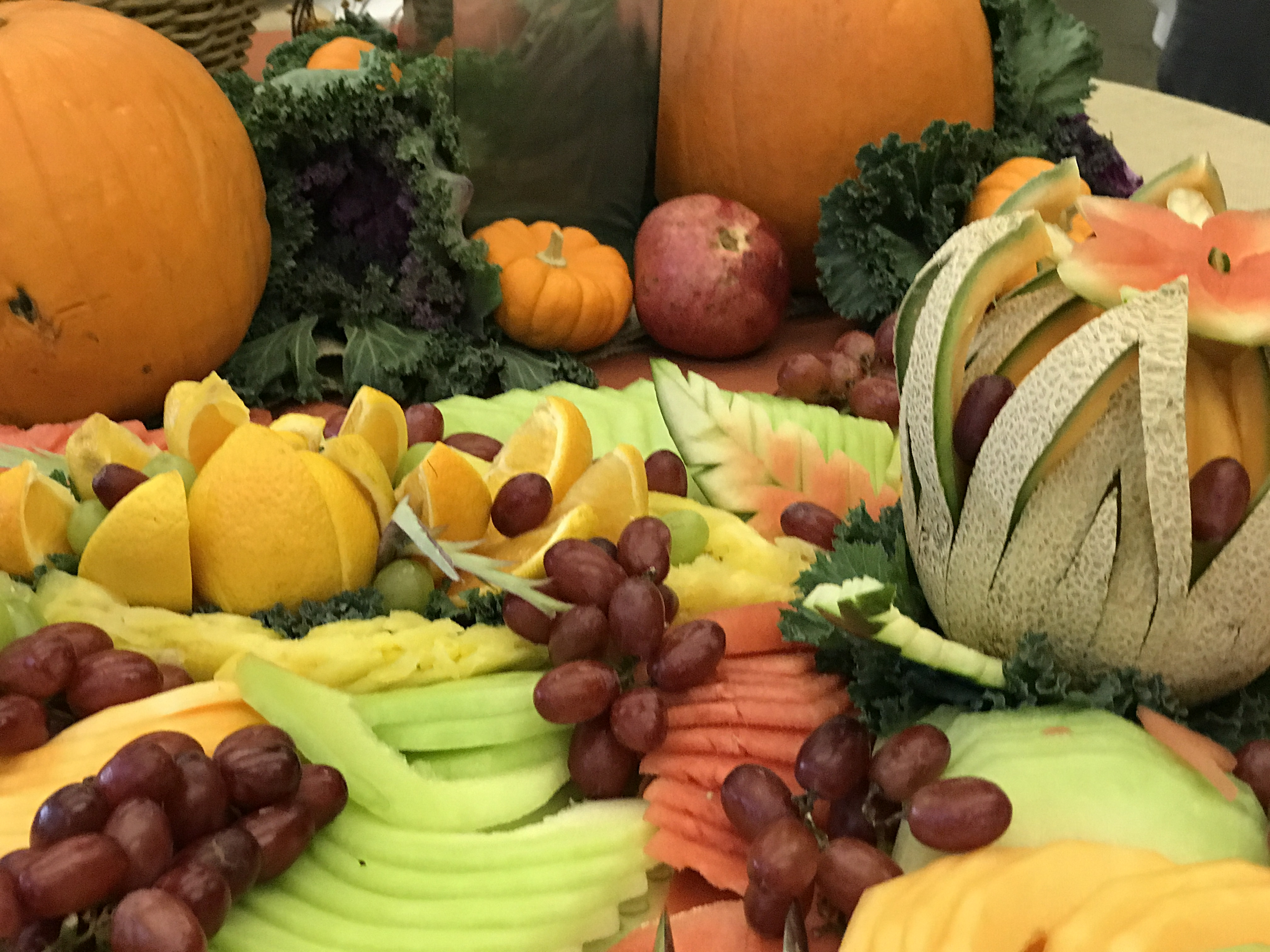 Fruit brought by attendees are arranged and cut in an artistic fashion for display and enjoyment on Wednesday, Oct. 18, 2017. Photo by Diane Carter.