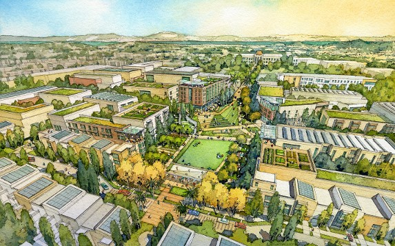 Concept art of Balboa Reservoir development by architectural illustrator Al Forster. Photo courtesy of alforster.com