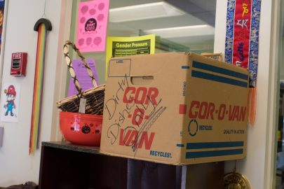 Free snacks and bowls of soup are offered to students at the Queer Resource Center, and dishes are collected in this box due to no kitchens or sinks being available. October 7, 2017. The staff collects the dishes and takes them home to be washed in his/her personal dishwasher. San Francisco. (AP Photo/ Julia Fuller)