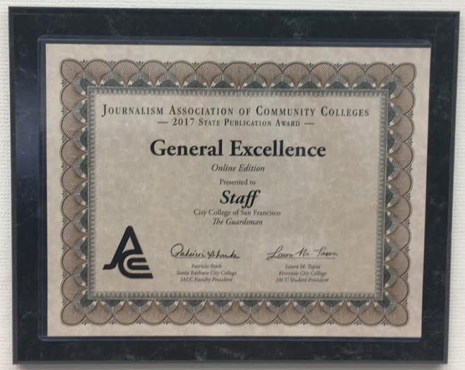 "JACC awarded The Guardsman Staff for ""General Excellence Online Edition"" on October 21, 2017 at De Anza College."