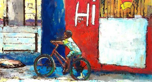 Tsungwei Moo's winning submission for the Muni Art contest. It features a young boy on his bicycle in Jamaica. Photo by Tsungwei Moo.