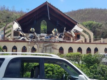 Destroyed facade of church after hurricane in Virgin Islands. Photo taken by Emma Graham-Winkles Oct. 2017.