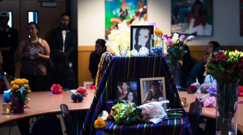 An altar to the recently deceased Gabriela Sanchez, 23 at her memorial service in San Francisco State University on Nov. 3, 2017. (Photo by Otto Pippenger)