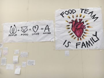 The Airbnb office staff decorate their hallways with handwritten notes and illustrations of support and gratitude for the cafeteria kitchen staff that were adversely affected by the transition, Nov. 8, 2017. Photo courtesy of Bernadette Ramos.