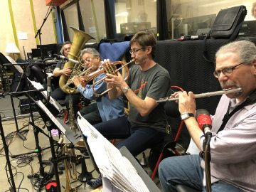 Horn and Wind Section. From farthest to nearest, Zachariah Spellman, Jeff Sanford, Eric Wayne, Hal Richards. Photo by Dana Jae Labrecque.